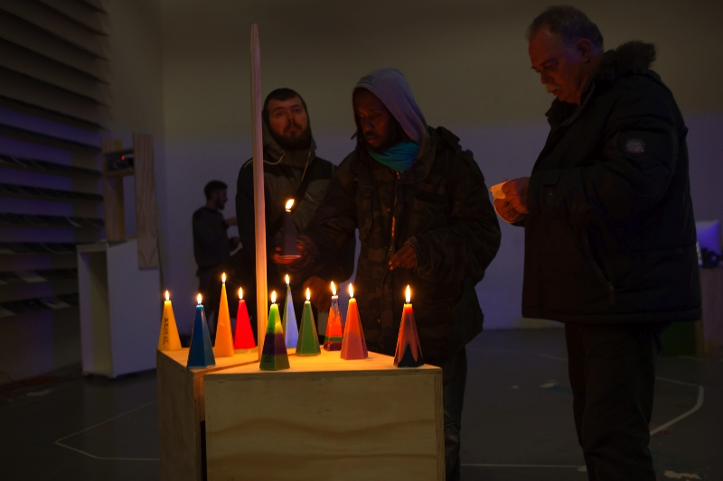 homeless candle performance by Cathalijne Smulders and Mariko Kuwahara at W139